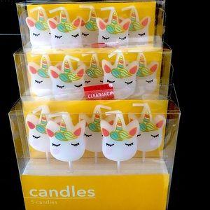 NIB - 3 Sets of Unicorn Candles
